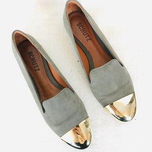SCHUTZ Gold Toe Tip Green Suede Loafer Flats